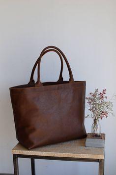 2e75956a61455 Oversized Tan / Cognac Leather tote bag with inside lining. Cap Sa Sal Bag.  Handmade