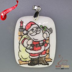 CHRISTMAS ENGRAVED HAND PAINTED SANTA PENDANT NATURAL WHITE STONE ZL7001700 #ZL…