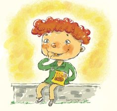 Children's book art about a boy who loves his potato chips