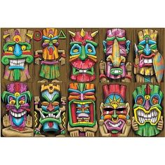 These Tiki Mask Cutouts are a great addition to your luau themed event. Our one-sided Tiki Mask Cut Outs measure 17 inches high x 10 inches wide. Tiki Tattoo, African Masks, African Art, Tiki Maske, Tiki Faces, Tiki Head, Tiki Statues, Lilo E Stitch, Tiki Totem
