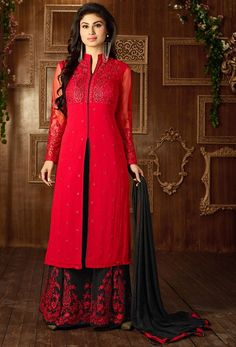 Mouni Roy Red Palazzo Kameez Set