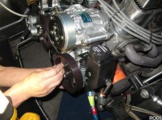 RODS 15:  The power steering pump is the text item that gets bolted to the front of the engine