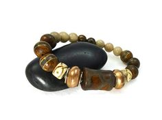 Mens Tibetan Agate Stretch Bracelet Stone by GemstonesOnMyMind