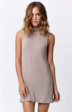 LA Hearts Mock Neck Tank Dress  #highneckline #sleeveless #beige