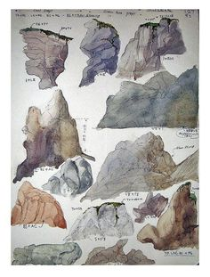 Vintage watercolor study of rock mounds. ca 1940-1970.