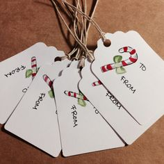 Set of 5 hand painted gift tags christmascandy by Yourlifeoncanvas, $6.50 #christmas #candycane #gifttags