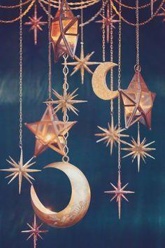 midsummer night's dream decor //hanging lanterns in moon and star shapes, very boho bohemian vibe Theme Galaxy, Galaxy Decor, You Are My Moon, Starry Night Wedding, Starry Nights, Boho Home, Midsummer Nights Dream, Woodland Theme, Home And Deco