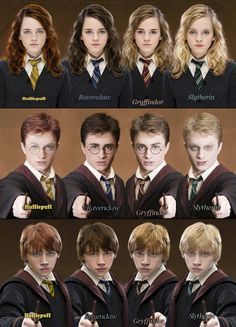 harry potter characters different houses>>>>what happened to slytherin harry!!?? he looks like a drug addict!! where r his brows XD