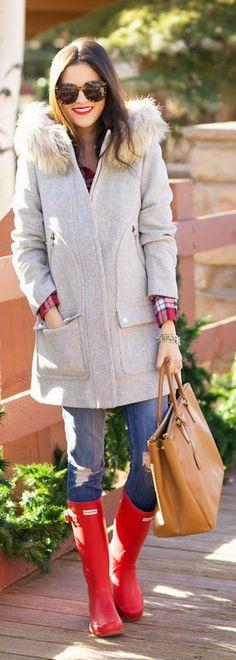 Fall Styles - cerise plaid shirt, grey warm coat, denim destroyed jeans, camel handbag, red hunter booties / Pink Peonies