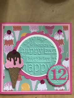 Birthday Scrapbook Pages, Cricut Birthday Cards, Homemade Birthday Cards, Girl Birthday Cards, Cricut Cards, Scrapbook Cards, Homemade Cards, Scrapbooking, Embossed Cards