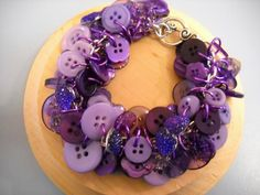 Purple Buttons Silver Link Chain Bangle Bracelet by Beads4You2008,