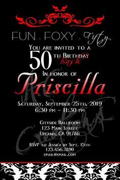 Fun . Foxy . Fifty Birthday Party Invitation - You Print, via Bonanza;  Find A.C. Creations on Facebook:   https://www.facebook.com/pages/AC-Creations/116253765076007