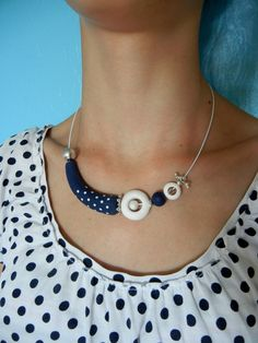 https://flic.kr/p/eYD335 | Matelot | I made myself this necklace to go with my polkadot T-shirt.  (The model wearing it is my daughter)