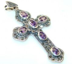 Beautiful Alexandrite Quartz Sterling Silver Pendant / Cross
