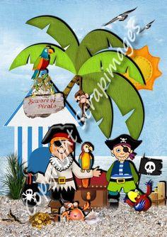carte pirates pouvant servir de carte d'anniversaire ou de carte d'invitation Grinch, Pirates