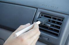 Dust car vents with a sponge paint brush.