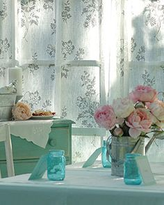 French country table setting - love the soft green, aqua, crisp white and grey and the colors pink and green of the flowers!  Lovely color scheme!