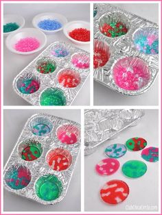 Tween crafts - BBQ bead ornaments in cupcake tins DIY Family Crafts, Crafts For Girls, Crafts To Make, Kids Crafts, Easy Crafts, Craft Projects For Kids, Kids Diy, Creative Crafts, Melted Bead Crafts