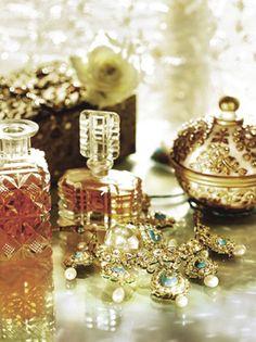 gold jewelry, perfume bottles