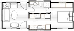 """here is the floor plan for the """"northwest"""" from ideabox Tiny Apartments, Tiny Spaces, Big Houses, Little Houses, Small House Plans, House Floor Plans, Sheds For Sale, Lofts, Tiny Cabins"""
