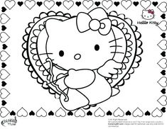 26 Best Hello Kitty Valentines Coloring Pages Images