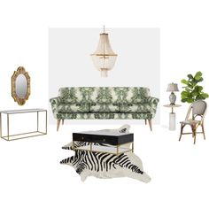 Green and Gold by ahantjis on Polyvore featuring interior, interiors, interior design, home, home decor, interior decorating, Kismet, Pottery Barn and Cooper Classics