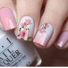 Cute Nails, Pretty Nails, My Nails, Hair And Nails, Dark Nails, Fall Nail Art Designs, Pink Nail Designs, Flower Nail Designs, Floral Nail Art