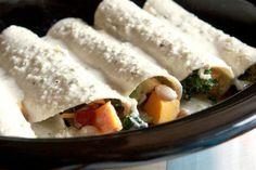 slow cooke veggie enchiladas with cream sauce