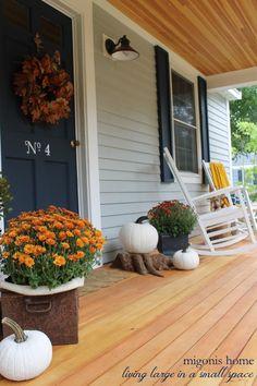 Migonis Home   Fall Front Porch 2014   Mums and White Pumpkins   http://migonishome.porch.com