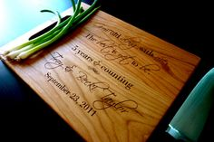 """Personalized Cutting Board, Custom Engraved - Cherry Wood - 9"""" x 12"""" - Wedding Gift, Anniversary Gift, Personalized"""