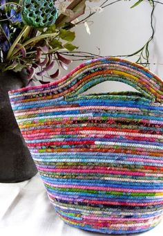 Repurposed Clothesline Coiled Fabric Basket Tote Bag by SallyManke
