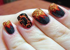 Hunger Games inspired manicure (Fire and Hot Coal as accent)