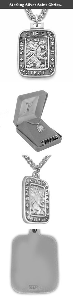Sterling Silver Saint Christopher Rectangle Medal with Engraved Border, 3/4 Inch. Sterling Silver Medal - Comes on 20 Inch Stainless Steel Chain with Lobster Claw Clasp - Gift Boxed.