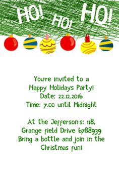 "Downloadable Christmas Party Invitations Templates Free Adorable Ivory On Ebony"" Printable Invitation Templatecustomize Add Text ."