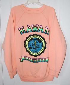 0bf592e961b0 Vintage University of Hawaii Rainbows Neon Puffy Graphic Sweatshirt, Size  XXL, Made in USA