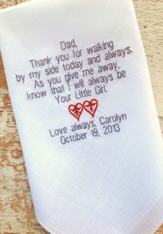 DAD from BRIDE Wedding heirloom handkerchief by HeirloomWeddings, $25.00