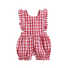 e51b1058ac7 Baby Girls Red Plaid Ruffles Romper – Euphoria Baby Boutique Cute Newborn  Baby Girl