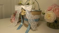 burlap and lace wedding flower girl basket personalized rustic flower girl bucket country wedding decor on Etsy, $39.00