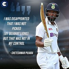 CheteshwarPujara expresses disappointment at not being picked by the Gujarat Lions in #IPL. Cricket Quotes, Disappointment, Famous Quotes, Lions, Baseball Cards, Famous Qoutes, Lion