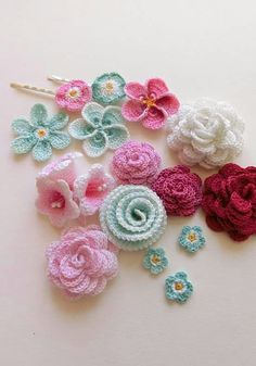 Crocheted Floral Hairpins