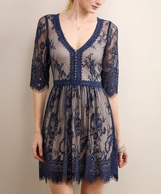 Look at this Midnight Blue Lace V-Neck Dress on #zulily today!