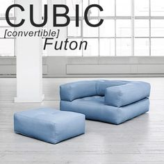 CUBIC, a futon armchair convertible into a pouf or comfortable and cozy bed