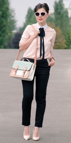 Pastel pink contrasted with inky black make this look a powerful statement for the office!