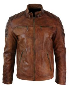 Mens Biker motorcycle vintage distressed brown cafe racer leather jacket  #Handmade #BasicJacket