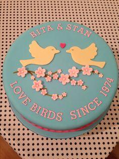 40th wedding anniversary cake 'love birds'