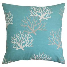 Made in Boston, Massachusetts, this chic cotton pillow brings coastal style to your decor with a coral-inspired motif.    Product: ...