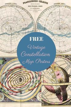 A gorgeous collection of constellation map posters that are free to download and print. These are lovely illustrated celestial charts of the stars. #starchart #constellations Celestial Map, Map Posters, Constellation Map, Picture Boxes, Free Graphics, Motion Graphics, Star Constellations, Free Maps, Star Chart