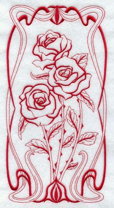 Art Nouveau Flowers | beautiful Art Nouveau flower panel in redwork. Wonderful for tea ...