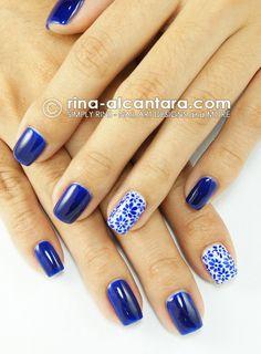 Porcelain Look Nail Art Design blue mexican tile