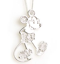 Silver Plated Pave Crystal Mickey Mouse Figure Necklace